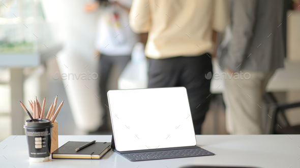Workplace with laptop , office supplies and coffee. - Stock Photo - Images