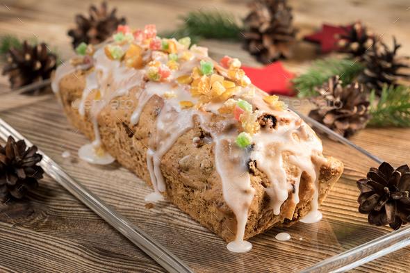 Traditional Christmas cake. - Stock Photo - Images