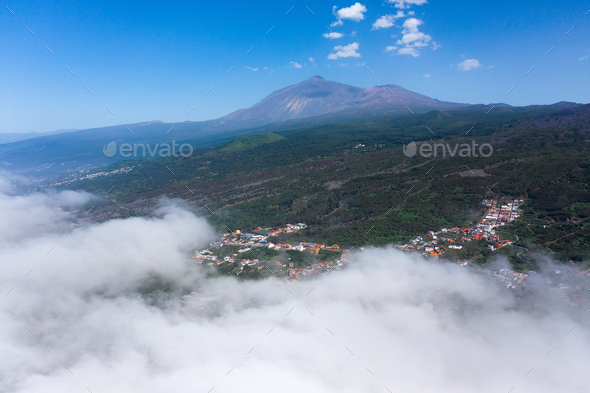 Teide National Park and village, landscape above the clouds. Tenerife, Canary Islands, Spain - Stock Photo - Images