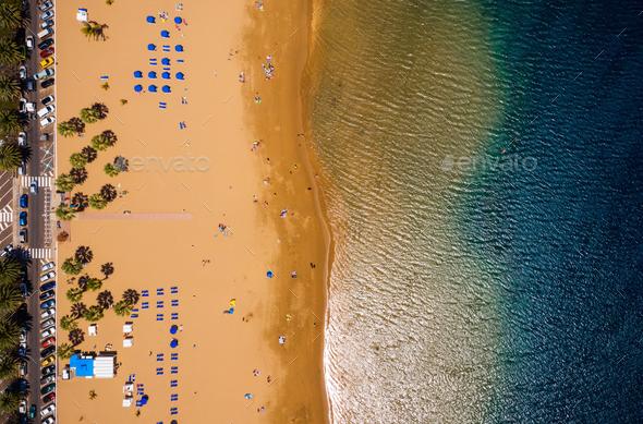 Las Teresitas beach, golden sand beach and the Atlantic Ocean. Tenerife, Canary Islands, Spain - Stock Photo - Images