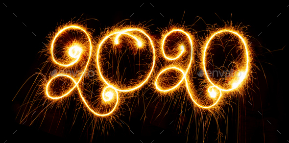 Happy New Year - 2019 with sparklers on black background - Stock Photo - Images