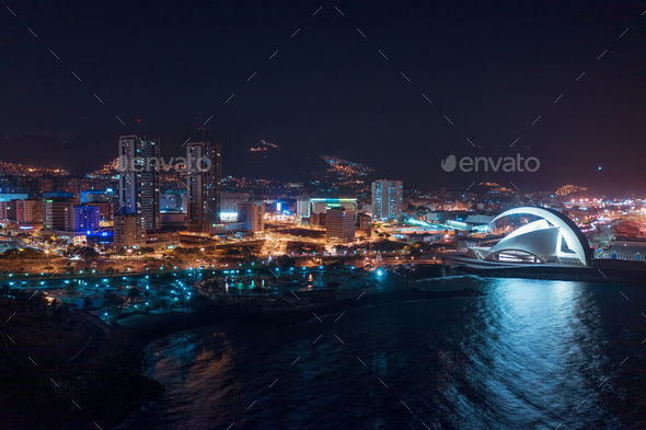 Aerial view of the city of Santa Cruz de Tenerife at night. Tenerife, Canary Islands, Spain - Stock Photo - Images