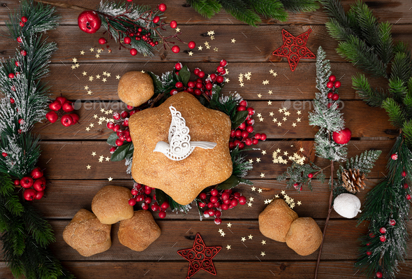 Star shaped Christmas bread - Stock Photo - Images