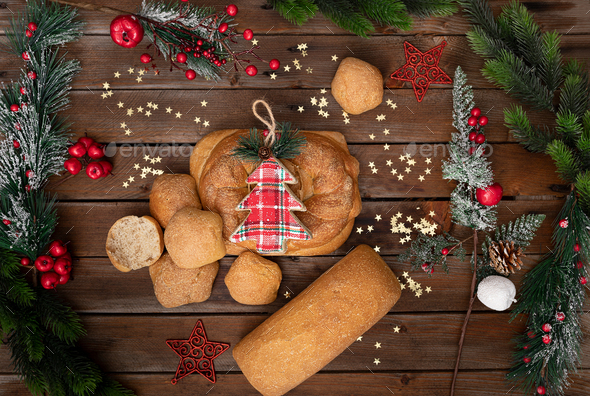 Bread decorated for Christmas - Stock Photo - Images