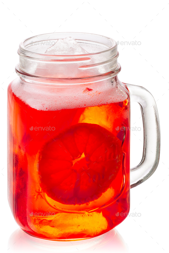 Aperol spritz in mason jar, paths - Stock Photo - Images