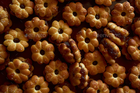 Background sweet biscuit with pineapple jam - Stock Photo - Images