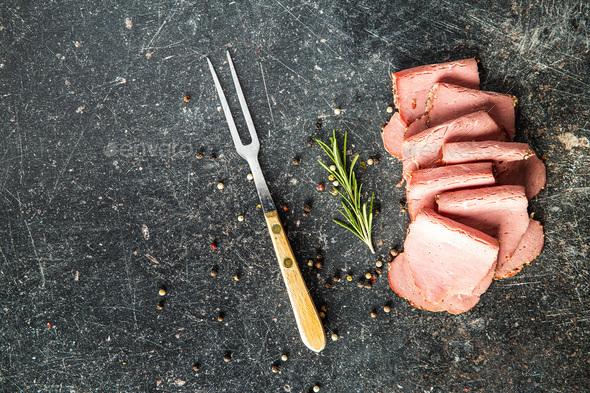 Sliced roast beef. Tasty fresh meat. - Stock Photo - Images