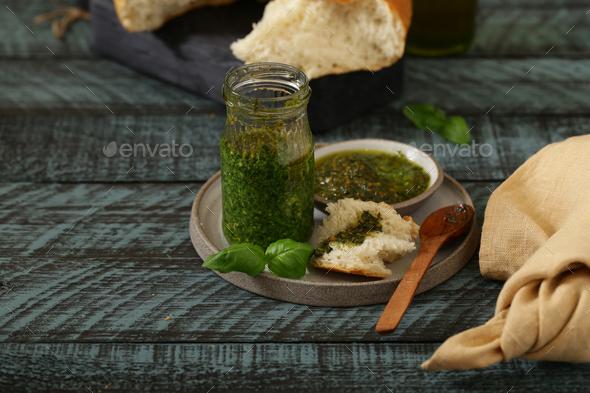 Organic Natural Pesto Sauce - Stock Photo - Images