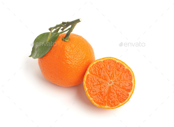 citrus orange ripe tangerine isolated on studio background - Stock Photo - Images