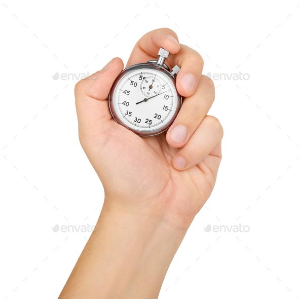 Hand hold mechanical analog stopwatch isolated on white - Stock Photo - Images