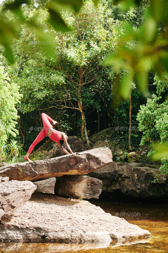 Fit woman doing yoga poses - Stock Photo - Images
