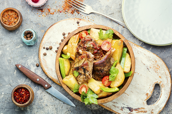 Baked meat with potatoes - Stock Photo - Images
