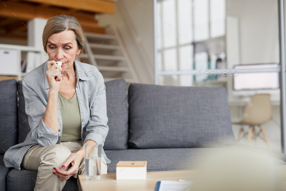 Crying Mature Woman at Home - Stock Photo - Images