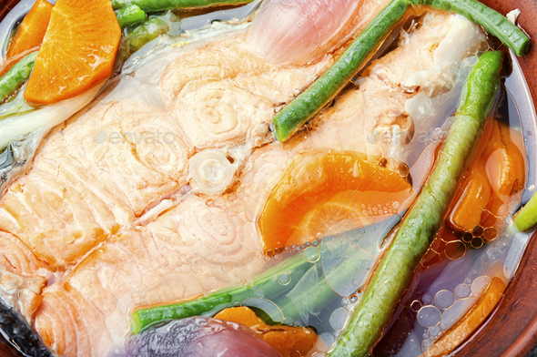 Boiled salmon steak - Stock Photo - Images