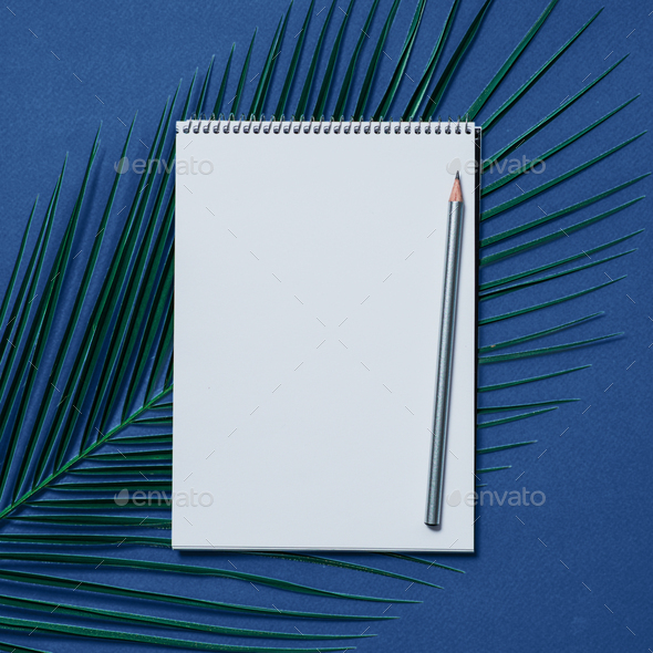 Blank notebook on blue color 2020 background - Stock Photo - Images