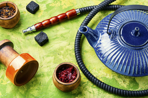 Arabic shisha with teakettle - Stock Photo - Images