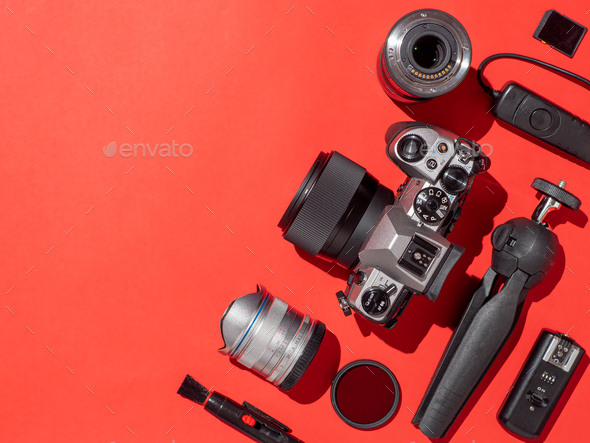 Camera and accessories on table, copy space - Stock Photo - Images