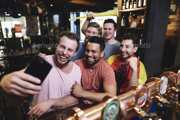 Group of male friends making a selfie - Stock Photo - Images