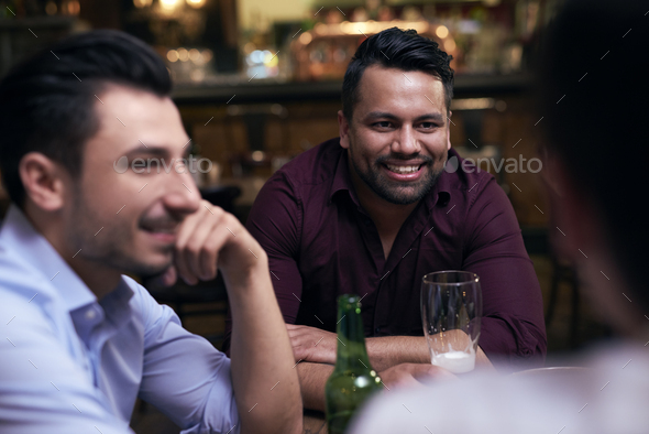 Leisure time with friends after a long day - Stock Photo - Images
