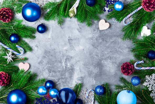 Christmas Frame with Blue Decoration - Stock Photo - Images