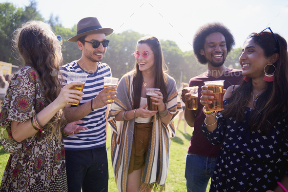 Meeting of the best friends at the music festival - Stock Photo - Images