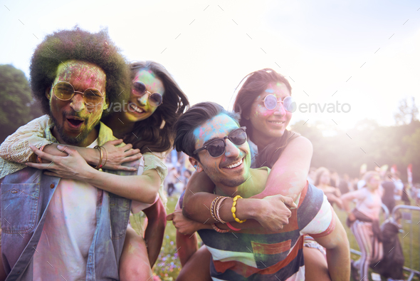 Portrait of group of friends at the festival - Stock Photo - Images