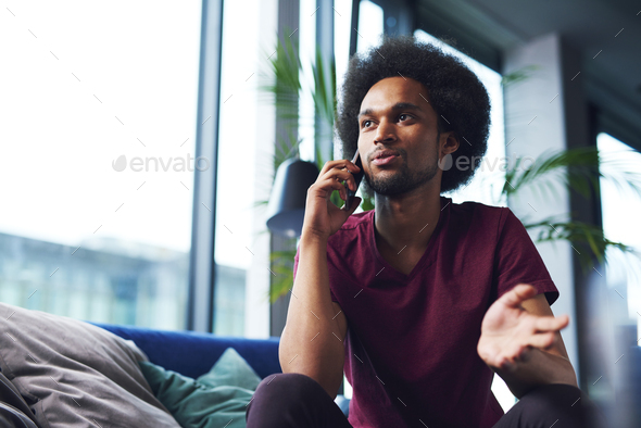 Business talks by the cell phone - Stock Photo - Images