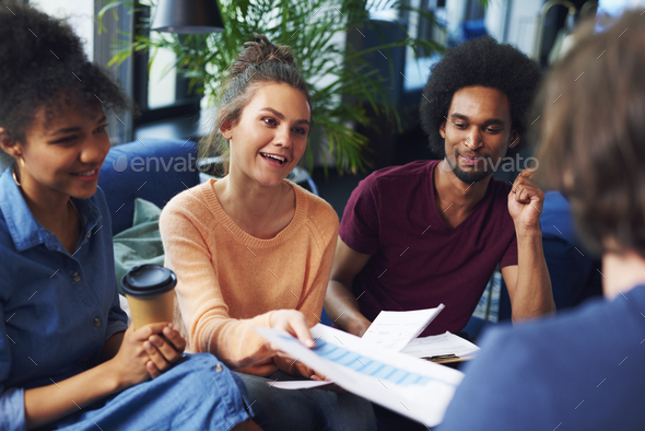 Businesswoman leading during business meeting - Stock Photo - Images