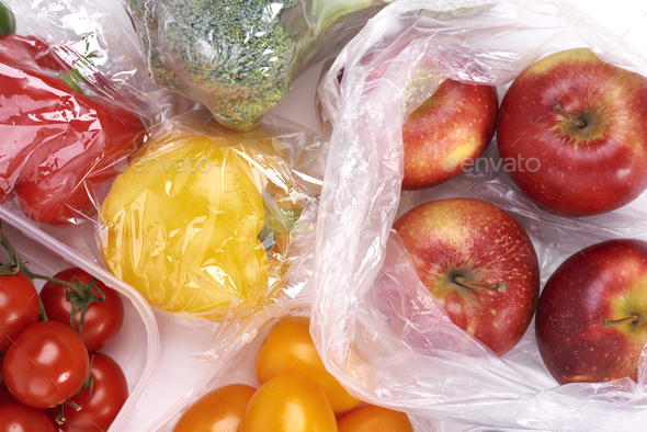 Plastic bags of fruits and vegetables - Stock Photo - Images