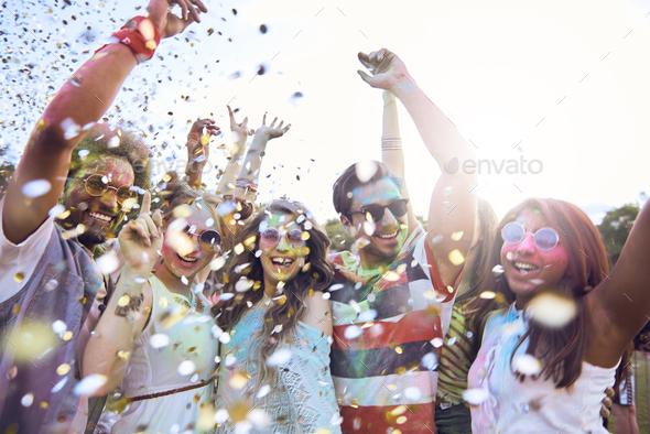 Celebrating festival on fresh air - Stock Photo - Images