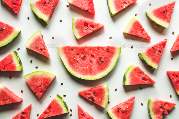 Watermelon pattern. Red watermelon on white background. Summer concept - Stock Photo - Images