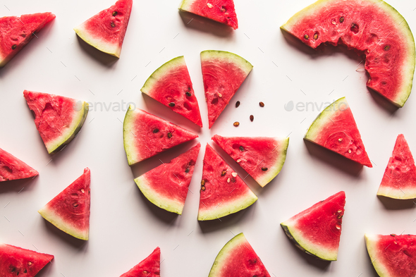 sliced watermelon on white background - Stock Photo - Images