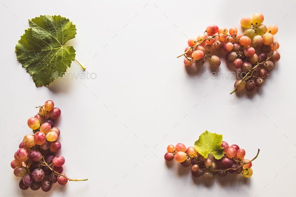 Ripe red grape with leaves isolated on white - Stock Photo - Images