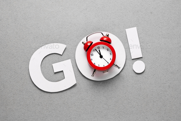 The word go with alarm clock in countdown concept - Stock Photo - Images