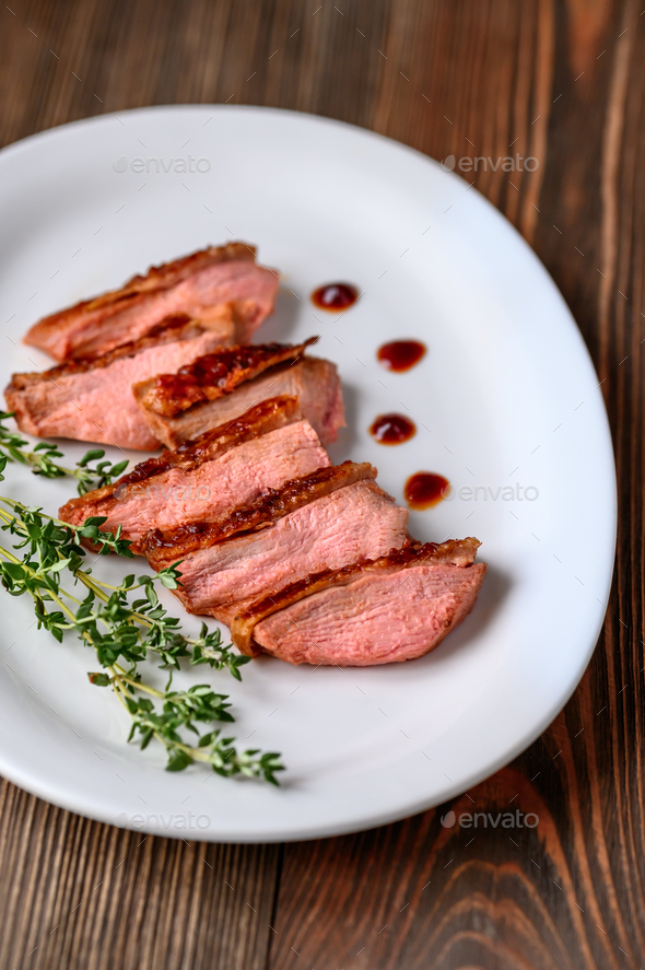 Slices of duck breast - Stock Photo - Images