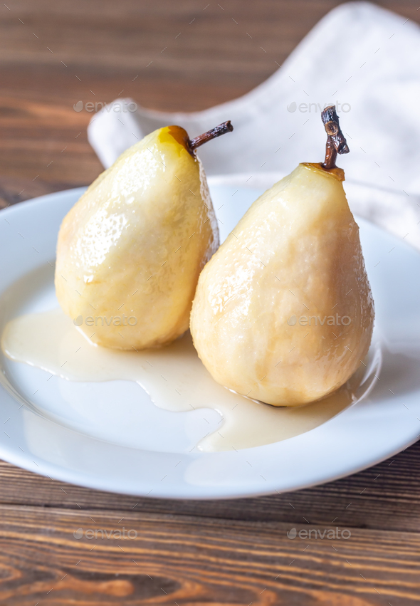 Poached pears on the white plate - Stock Photo - Images