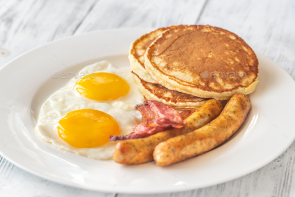 Traditional American breakfast - Stock Photo - Images