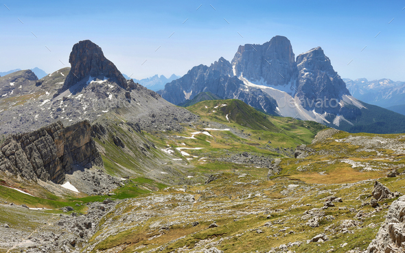 Views from Forcella Rossa, Dolomites, Italy - Stock Photo - Images