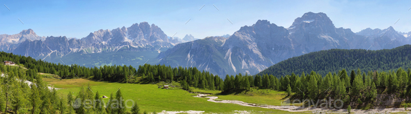 Distant massif of Croda di Lago, Dolomites, Italy - Stock Photo - Images