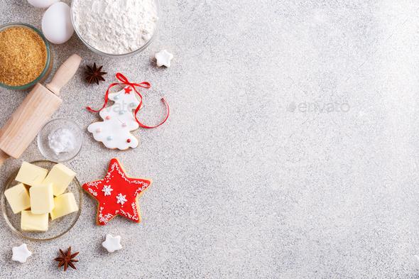 Christmas baking background - Stock Photo - Images