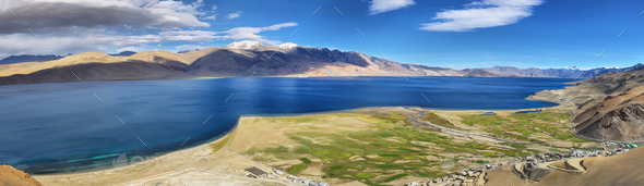 Tso Moriri lake in Rupshu valley, Ladakh, India - Stock Photo - Images
