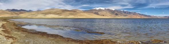 Tso Moriri lake in Rupshu valley, Ladakh, India - Stock Photo - Images