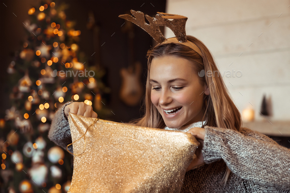 Receiving Christmas gift - Stock Photo - Images