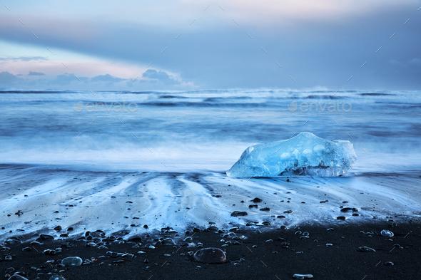 Beautiful Diamond beach - Stock Photo - Images