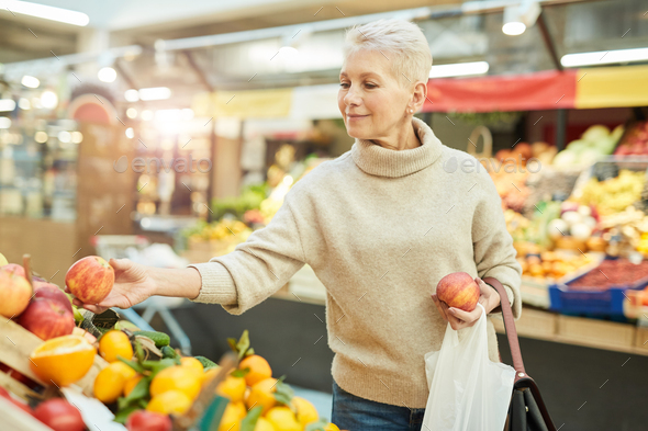 Grocery Shopping at Farmers Market - Stock Photo - Images