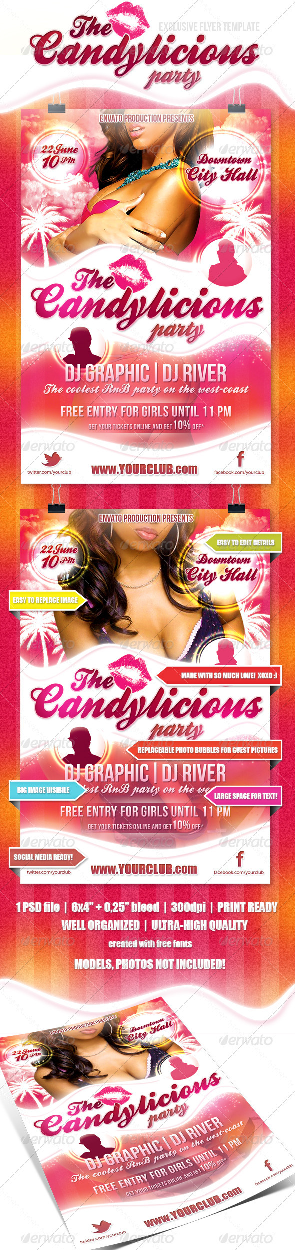 Candylicious Party flyer - Flyers Print Templates