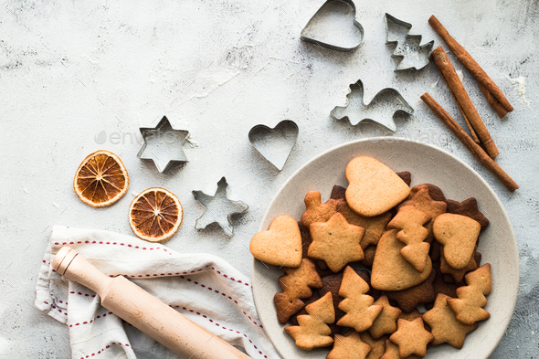 Christmas gingerbread on the table, top view - Stock Photo - Images