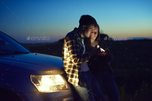 Young couple choosing the best road - Stock Photo - Images