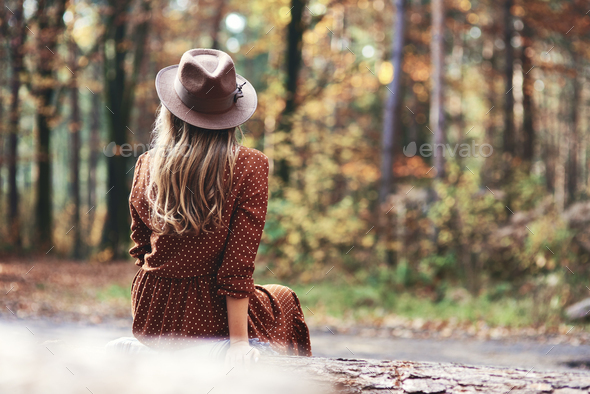 Rear view of glamour woman in autumn woods - Stock Photo - Images