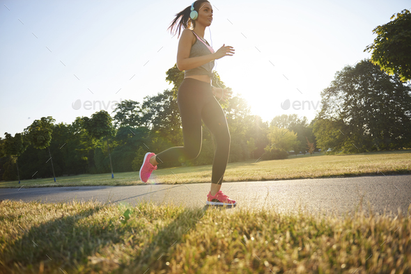 Endorphins during the jogging in the park - Stock Photo - Images